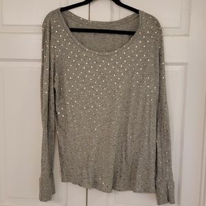 Grey long sleeve with rose gold polka dots
